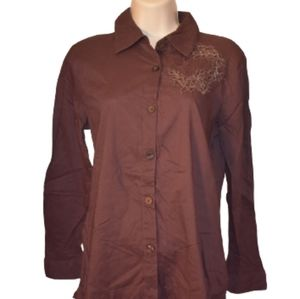 Sag Harbor Embroidered Button Down Top Java PS
